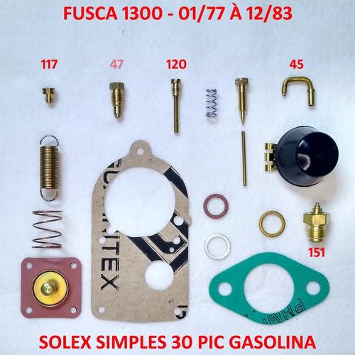 Kit Reparo Carburador Fusca 1300 Solex 30 Pic Gasolina