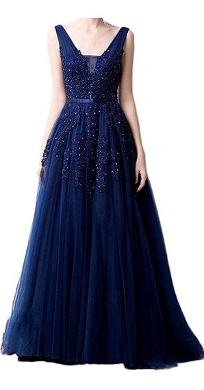 Vestido Encaje Tul Fiesta Largo Azul Elegante Casamiento T M
