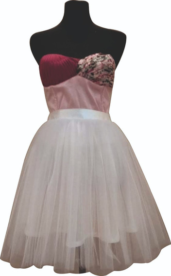 Vestido 15 Años Corto Tul Blanco Corset Rosa
