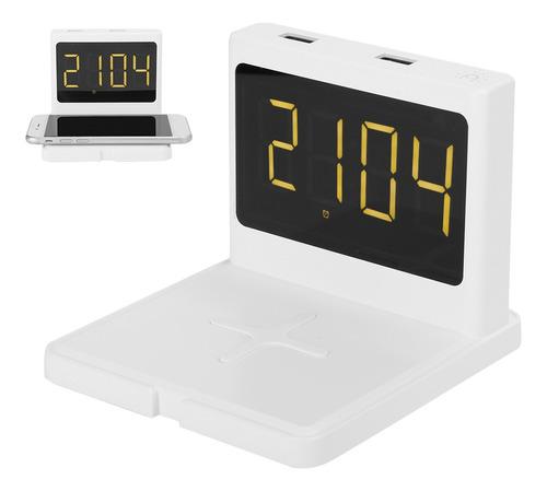 Imagen 1 de 10 de Smart Alarma Reloj Inalámbrico Teléfono Cargador Rápido Qi