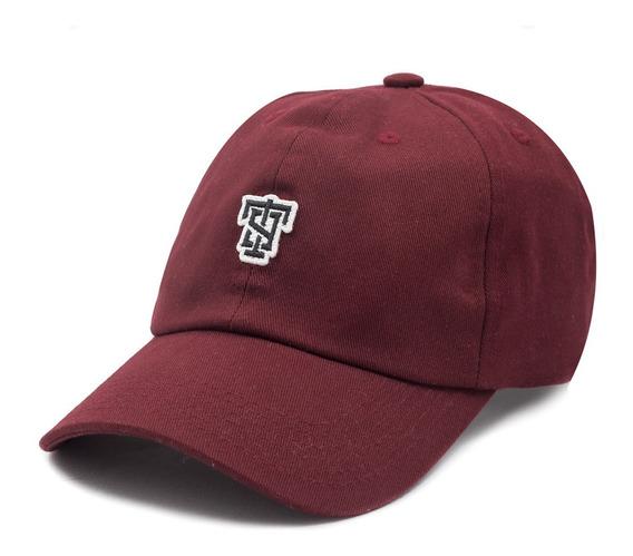 Boné Thug Nine Aba Curva Dad Hat Strapback T9 Logo Vinho