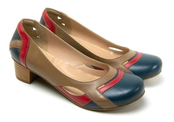 Sapato Feminina Boneca Em Couro Sapatofran Salto Bloco