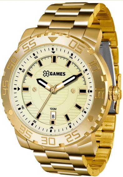 Relógio Xgames Masculino Xmgs1021 C2kx Dourado Grande