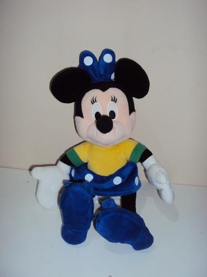 Pelúcia Disney Minnie Mouse Vestido Azul De Bolinha 31cm