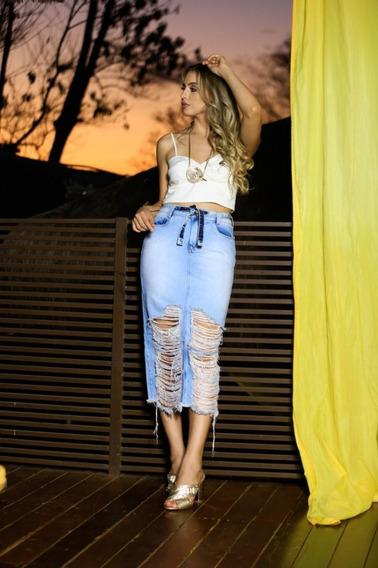 Saia Midi Jeans Destroyed Rasgada Lançamento # 123