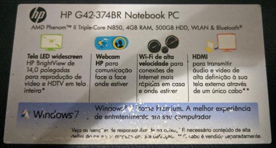 Notebook Hp G42-374br (c/ Defeito) Ler Descrição