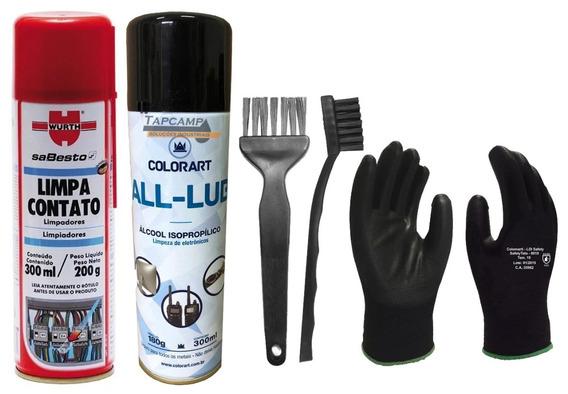 Pincel + Escova Esd Antiestica Limpeza Pc Limpa Contato Luva