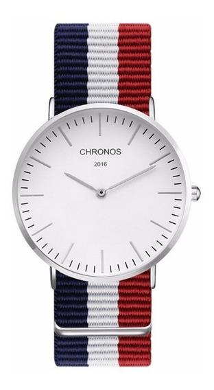 Relógio Analógico Unisex Pulseira Em Nylon Chronos