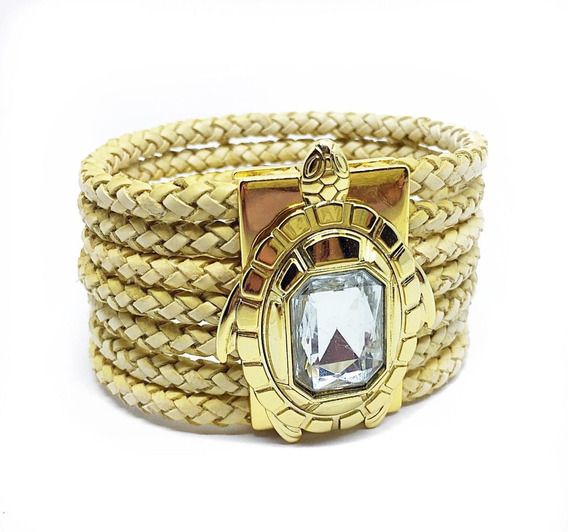 Bracelete Pulseira Feminina Tartaruga Luxo Dourada Couro Cru
