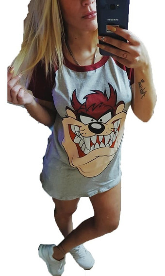 Remera Larga Manga Corta De Mujer Remeron Stitch Simpson