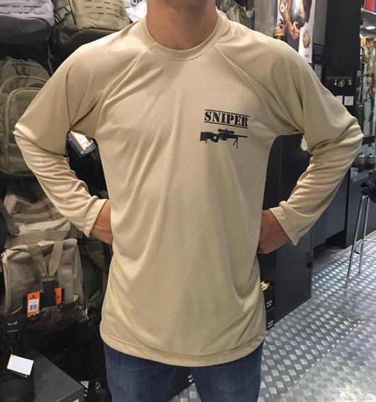 Camiseta Sniper Dry Manga Longa Cor Caqui- Hd Brasil
