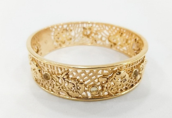 Pulseira Bracelete Floral Com Banho De Ouro - Frete Grátis