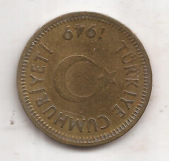 Turkia Moneda De 25 Kurus Año 1949