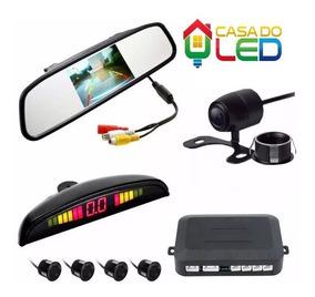 Kit Retrovisor Lcd + Câmera De Ré + Sensor De Estacionamento