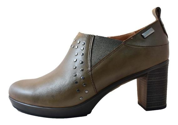 Botineta Zapato Cavatini Cuero Mujer Taco Alto Separado