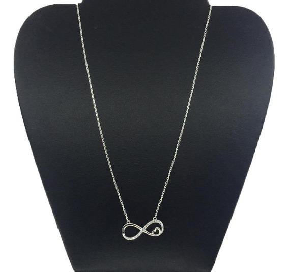 Collar Infinito De Plata 925 Piedras De Zirconia Cl04