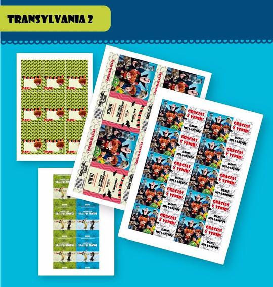 Kit Hotel Transylvania 2 Imprimible Invitación Etiquetas