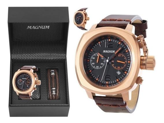 Relógio Magnum Masculino Couro Marrom Ma34129c + Pulseira