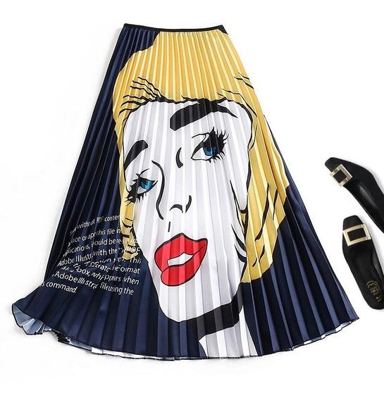Mujeres Nuevo Impresión Alto Cintura Falda Verano Midi Fald
