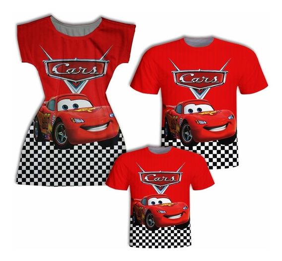 Camisas Pai E Filho + Vestido Mãe - Carros Vermelho
