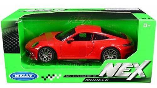 Imagen 1 de 1 de Welly 24099 Porsche 911 Carrera 4s Rojo Con Ruedas Gris Mod