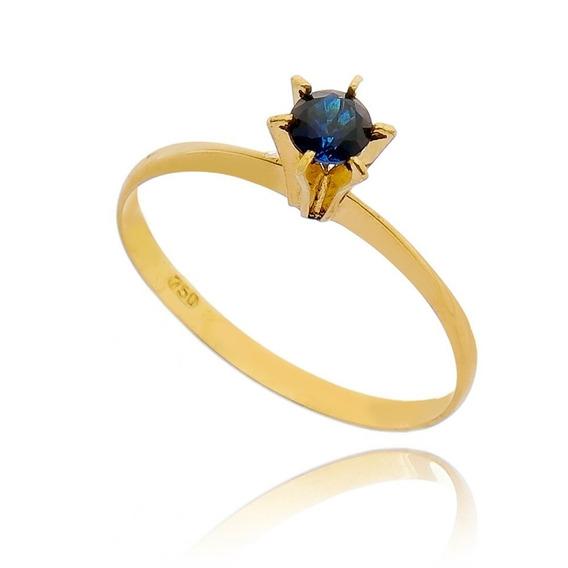 Anel Em Pedra Azul - Ouro 18 K / 750