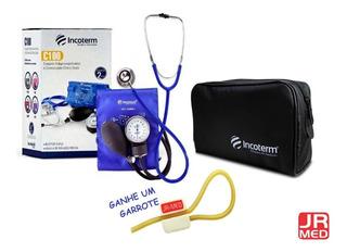 Kit Esfigmomanômetro + Esteto Duplo Azul + Bolsa Incoterm