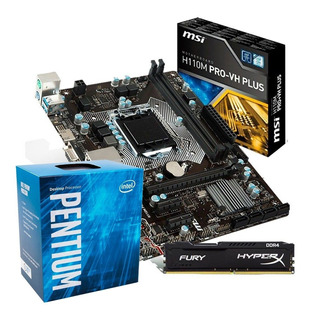 Kit Placa Mãe Msi H110m Pro + Pentium G4560 + 4gb 2400 Ddr4