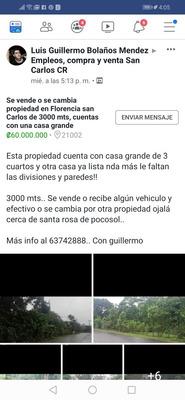 Se Vende Propiedad En San Luis De Florencia De San Carlos