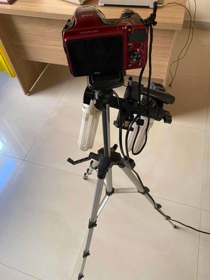 Câmera Tripé Luminária Gravador Mais Canal Com Inscritos