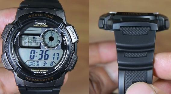 Relógio Casio Ae 1000w Borracha Mapa Cronometro 5 Alarmes