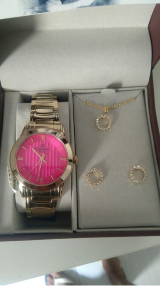 Relógio Champion Feminino Dourado Ch24697j + Brinde