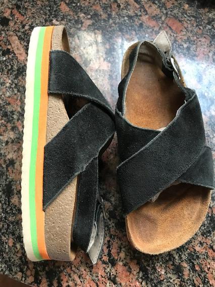 Sandalias De Nena Toot Gamuza Negra 33/34 Zapatos Poco Uso