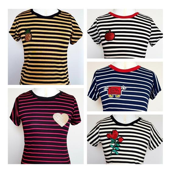 Kit C/ 5 Blusas Femininas - Camiseta Listrada - Tam M - Lantejoula Bordada C/ Aplique