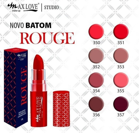 Kit 5 Batons Max Love Linha Rouge