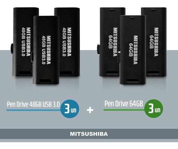 Kit Pen Drive 48gb(usb 3.0) 3pcs + 64gb 3pcs Mitsushiba