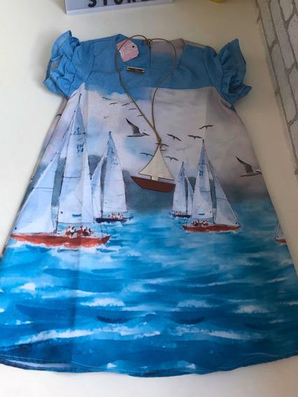 Vestido Infantil Barcos Varios Tamanhos C/ Colar De Brinde