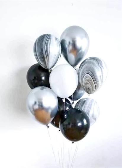 10 Globos (3 Negros, 1 Blanco, 3 Ágata, 3 Chrome Plata)