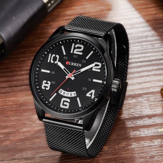 Relógio Masculino Curren Preto Esportivo Militar Original Pulseira Meta