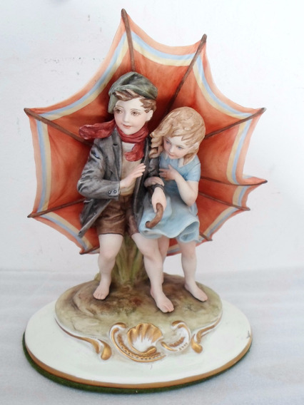 Antigua Figura En Porcelana Italiana Capodimonte Bruno Merli