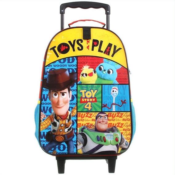 Mochila Escolar Infantil Rodinhas Woody Buzz Toy Story 4