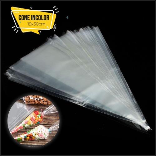 Imagem 1 de 1 de 40 Sacos Plastico Cone Cenourinha Incolor 19x30 Cone Doces