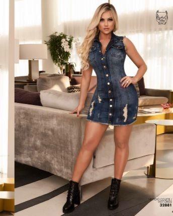 Vestido Colete Jeans Feminino Pit Bull Jeans