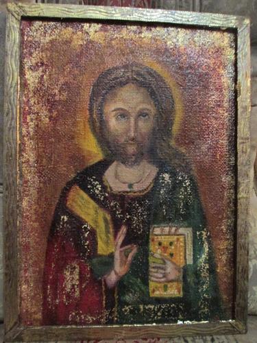 Pintura Bizantina Lienzo Antiguo Cuadro Religioso Oleo