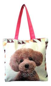 Bolsa Em Lona Estampa Cachorrinho Pet Dog Sacola Feminina