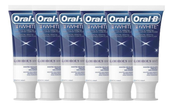Kit Creme Dental Oral-b 3d White Glamorous White 90g C/ 6 Un