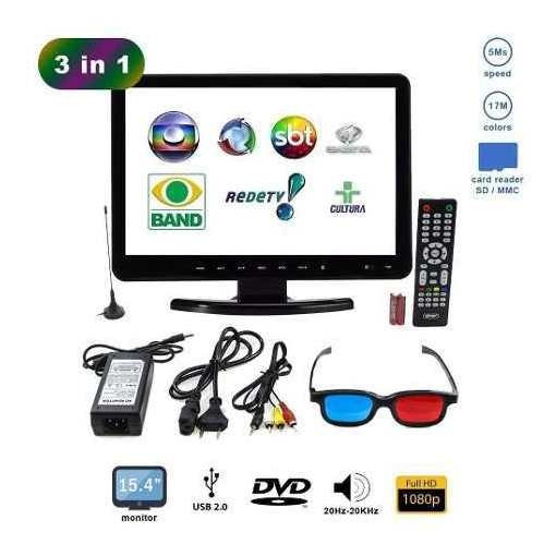 Tv Monitor 15,4 Pol Kp-116 Knup Lcd Hd 1080p Dvd Player Usb