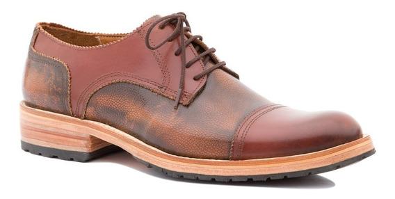 Zapatos De Cuero Color Marrón Combinado Para Hombre