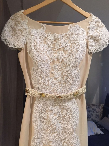 Vestido Alta Costura Longo Cauda Renda Noiva Casamento Festa
