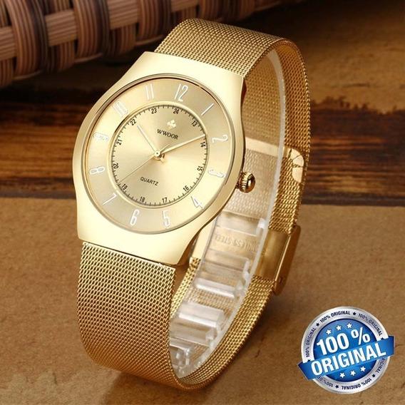 Relógio Masculino Wwoor 8829 Super Slim, Cor Dourada